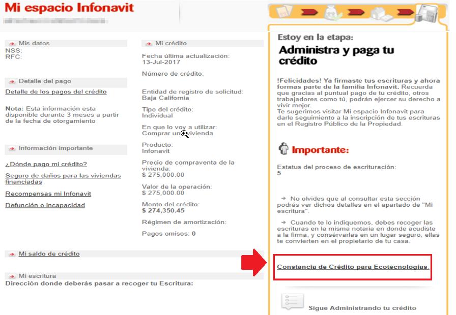 Información en Mi Espacio Infonavit